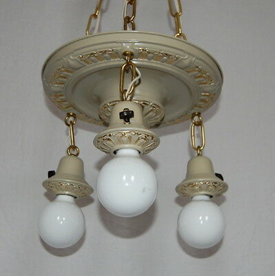 Painted Brass Pan Ceiling Light 3 Decorative Sockets 2