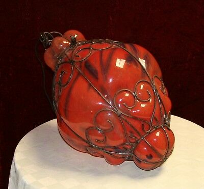 Handcrafted  Wrought Iron Ceiling Lamp With Red Hand Blown Art Glass  Shades 6 • CAD $313.55
