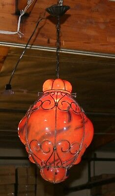 Handcrafted  Wrought Iron Ceiling Lamp With Red Hand Blown Art Glass  Shades 4 • CAD $313.55