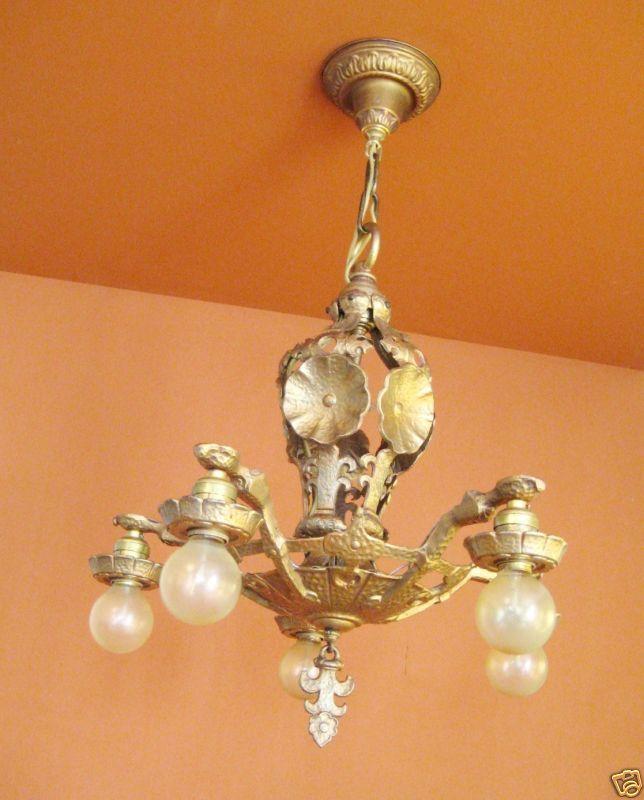 Vintage Lighting 1920s high quality Halcolite chandelier 6
