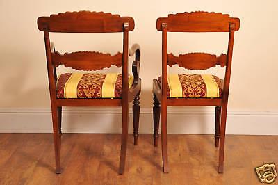 10 English Regency Walnut Inlay Dining Chairs 9