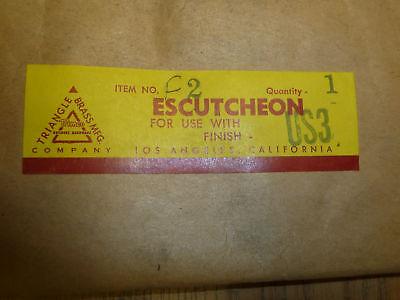 VINTAGE Trimco DOOR ESCUTCHEON F2 fin: BRASS US3 4