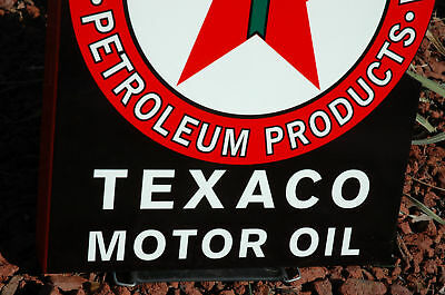 Old Style Texaco Motor Oil Gasoline Black T Flange Thick