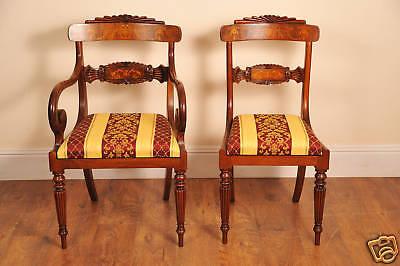 10 English Regency Walnut Inlay Dining Chairs 2