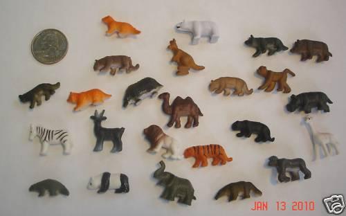 Set Of Miniature Tiny Plastic Toy Craft Zoo Animals Lot 24 Animal