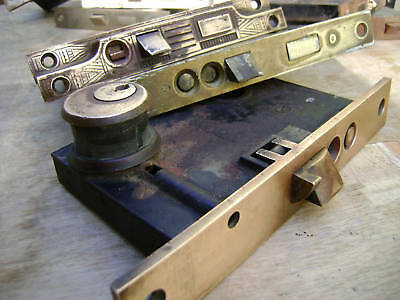 Antique brass locks Windsor  Exterior mortise  1800
