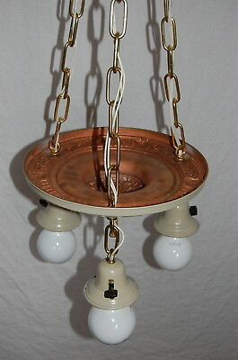 Painted Brass Pan Ceiling Light 3 Decorative Sockets 6