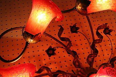 Handcrafted Art Deco Style Wrought Iron Ceiling Lamp 9 Hand Blown Glass Shades 8