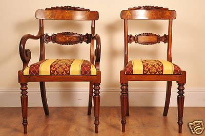 10 English Regency Walnut Inlay Dining Chairs 5
