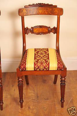 10 English Regency Walnut Inlay Dining Chairs 4