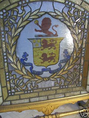 Antique Leaded Stained Glass Firescreen 12