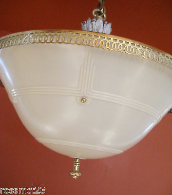 Vintage Lighting 1930s Even Glow chandelier by Chase Brass 6