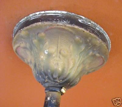 Vintage Lighting antique 1920s polychrome chandelier   Amber Glass Drops 3