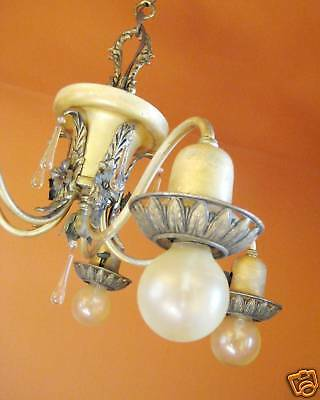 Vintage Lighting pair 1920s Colonial silver chandeliers   Sweet Glass Drops 8