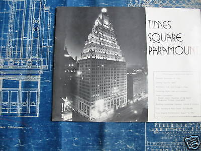 1925 PARAMOUNT PICTURES Theater Blueprint NEW YORK CITY One of a kind!!!!!!! 8