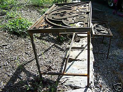 CUSTOM made iron patio table 1878 GOTHIC roof cresting 3