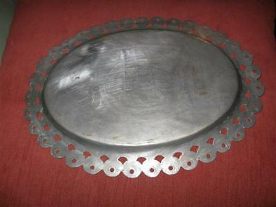 Antique Persian Islamic Silver Plated Metal Oval Tray Platter w Arabic Engraving 6