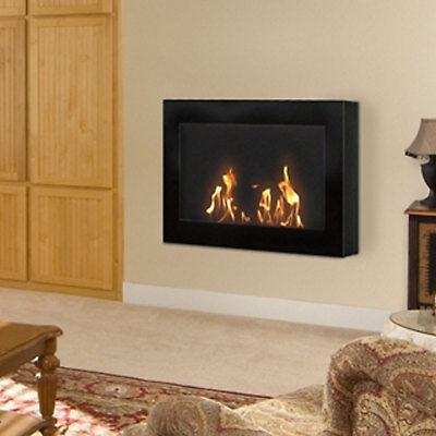 Anywhere Fireplace SoHo Black Wall Mount Fireplace Bio Fuel Odorless Smokeless