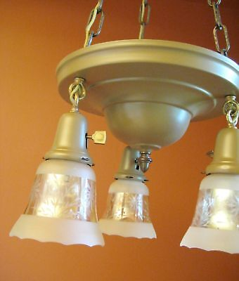 Vintage Lighting set 1915 pan chandelier and pair sconces   Glass Shades 2