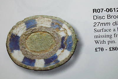 Ancient ROMAN DISC BROOCH blue & red enamel old jewelry antique artiact enameled 3