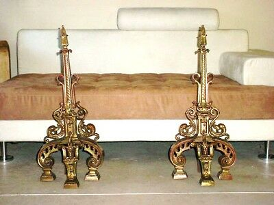 Tall Antique Hollywood Regency Andirons Nouveau Draper Era Old Bronze Florentine
