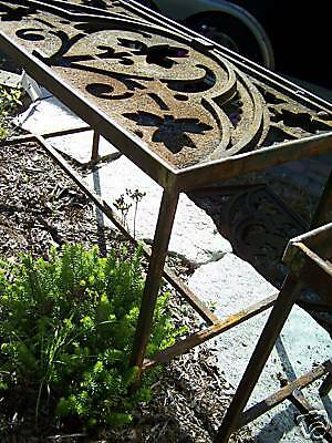 CUSTOM made iron patio table 1878 GOTHIC roof cresting 8