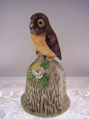 PORCELAIN BISQUE BELL Owl on Bark NIB *FREE USA SHIPPING
