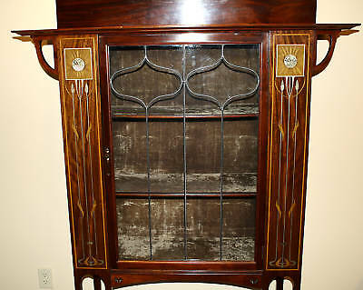 Magnificent 1900 English  Art Nouveau Inlaid Mother Of Pearl Cabinet 5