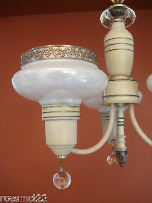 Vintage Lighting antique 1930s Art Deco set   Pair chandeliers   Pair sconces 6
