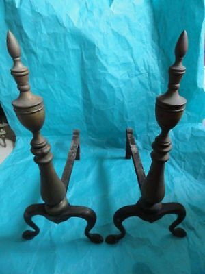 American Federal Style Brass & Cast Iron Andirons 8