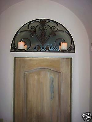 Wrought Iron Antique Style Above Door Transom Mirror Candle Sconce 2