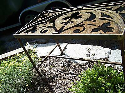 CUSTOM made iron patio table 1878 GOTHIC roof cresting 9