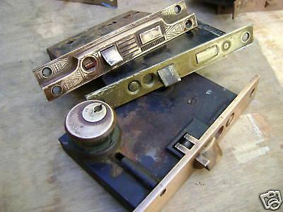 Antique brass locks Windsor  Exterior mortise  1800 2