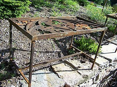 CUSTOM made iron patio table 1878 GOTHIC roof cresting