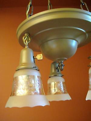 Vintage Lighting set 1915 pan chandelier and pair sconces   Glass Shades 3