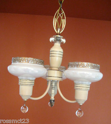 Vintage Lighting antique 1930s Art Deco set   Pair chandeliers   Pair sconces 5