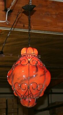 Handcrafted  Wrought Iron Ceiling Lamp With Red Hand Blown Art Glass  Shades 3 • CAD $313.55