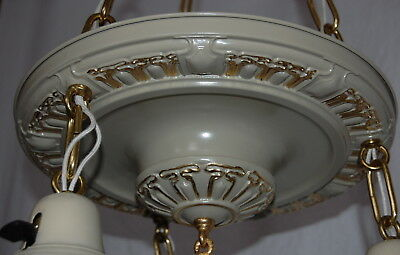 Painted Brass Pan Ceiling Light 3 Decorative Sockets 4