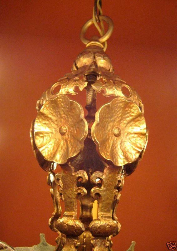 Vintage Lighting 1920s quality Halcolite chandelier 2