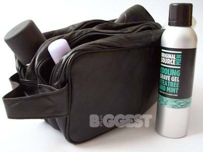 * New Mens Large Soft Black Leather Toiletry Wash Bag Travel Toiletries Double