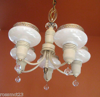 Vintage Lighting antique 1930s Art Deco set   Pair chandeliers   Pair sconces 3