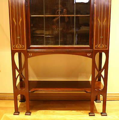 Magnificent 1900 English  Art Nouveau Inlaid Mother Of Pearl Cabinet 6