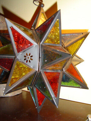 LARGE multi point RED BLUE GREEN Moroccan STAR hanging Candle holder lamp lanter