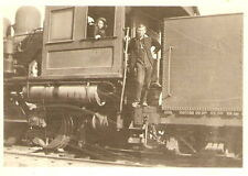 c 1910 RPPC Railroad TRAIN Locomotive ENGINEER Girl RR AZO REAL PHOTO POSTCARD