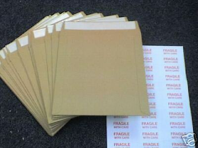"25 7"" Strongest All Board Peel & Seal Brown Record Mailers Free Fragilelabels"