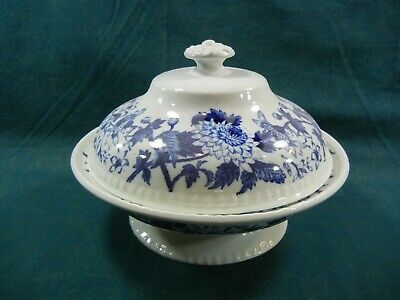 Copeland Spode Blue Aster RARE Covered Vegetable Bowl with Lid