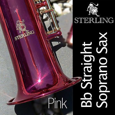 Pink Straight Soprano Sax • STERLING Bb Saxophone • With Case and Accessories •