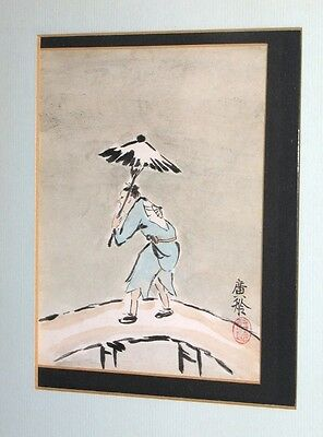 ANTIQUE CHINESE PEASANT W UMBRELLA WATERCOLOR PAINTING in the JAPANESE STYLE