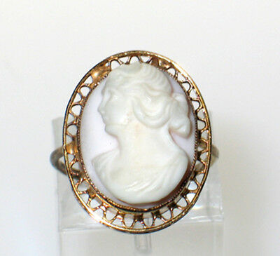 Antique 10K Gold Angelskin Coral Shell Greco Left Faced Cameo Filigree Ring 4+