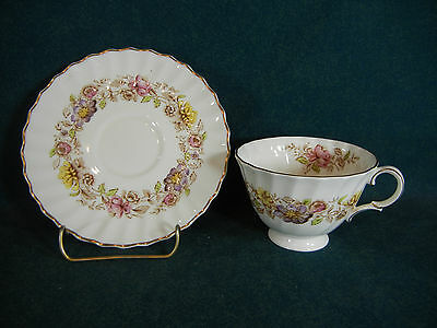 Royal Doulton Multicolored Mayfair H4897 Thicker Handle Cup and Saucer Set(s)